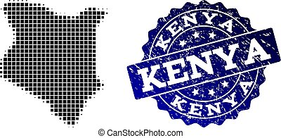 Composition of Halftone Dotted Map of Kenya and Grunge Stamp Watermark