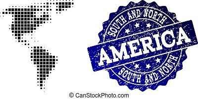Composition of Halftone Dotted Map of South and North America and Grunge Stamp Watermark