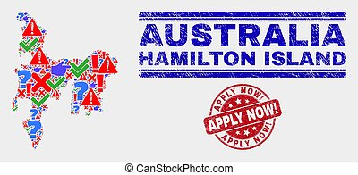 Composition of Hamilton Island Map Symbol Mosaic and Grunge Apply Now! Stamp Seal