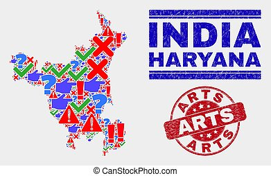 Composition of Haryana State Map Sign Mosaic and Distress Arts Stamp Seal