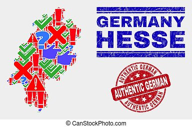 Composition of Hesse Land Map Symbol Mosaic and Scratched Authentic German Seal