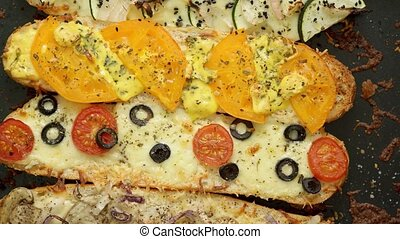 Composition of hot tasty baked sandwiches with various ...