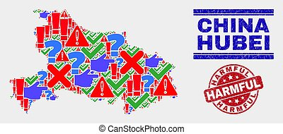 Composition of Hubei Province Map Symbol Mosaic and Grunge Harmful Stamp