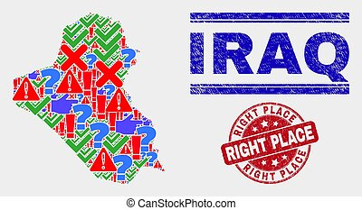 Composition of Iraq Map Sign Mosaic and Distress Right Place Stamp