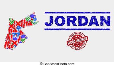 Composition of Jordan Map Symbol Mosaic and Distress Flood Warning Stamp
