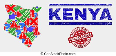 Composition of Kenya Map Sign Mosaic and Distress Ovarian Cancer Watermark