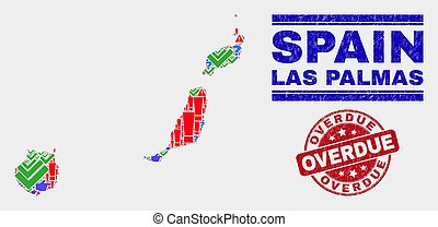 Composition of Las Palmas Province Map Symbol Mosaic and Grunge Overdue Stamp