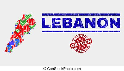 Composition of Lebanon Map Symbol Mosaic and Grunge Oxygen Stamp