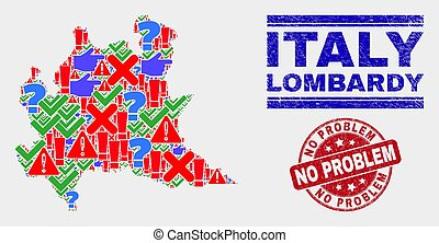 Composition of Lombardy Region Map Sign Mosaic and Scratched No Problem Stamp Seal