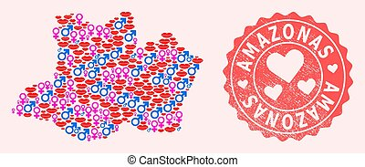 Composition of Love Smile Map of Amazonas State and Grunge Heart Stamp