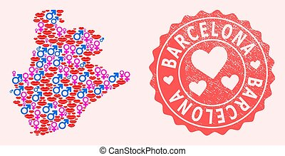 Composition of Love Smile Map of Barcelona Province and Grunge Heart Stamp