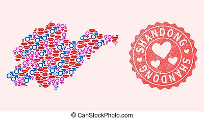 Composition of Love Smile Map of Shandong Province and Grunge Heart Stamp