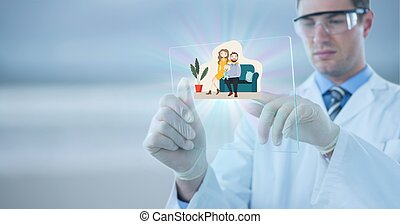 Composition of male doctor touching virtual screen with people illustration and copy space