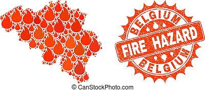 Composition of Map of Belgium Burning and Fire Hazard Grunge Stamp Seal