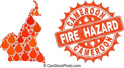 Composition of Map of Cameroon Burning and Fire Hazard Grunge Stamp Seal