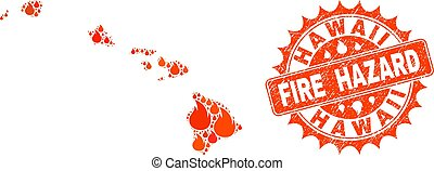 Composition of Map of Hawaii State Burning and Fire Hazard Grunge Stamp Seal