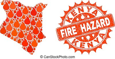 Composition of Map of Kenya Burning and Fire Hazard Grunge Stamp Seal