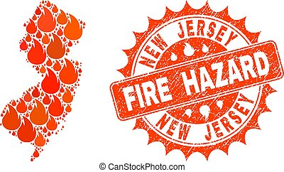 Composition of Map of New Jersey State Burning and Fire Hazard Grunge Stamp Seal