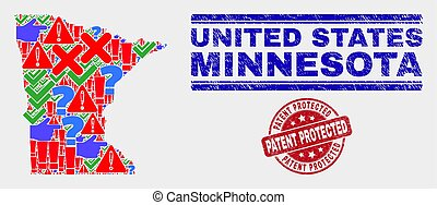 Composition of Minnesota State Map Sign Mosaic and Distress Patent Protected Stamp Seal