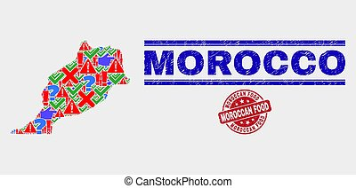 Composition of Morocco Map Symbol Mosaic and Scratched Moroccan Food Stamp