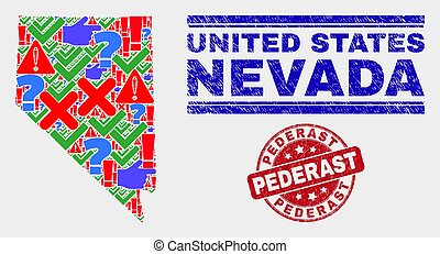 Composition of Nevada State Map Symbol Mosaic and Scratched Pederast Seal