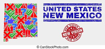 Composition of New Mexico State Map Symbol Mosaic and Scratched New Vision Watermark