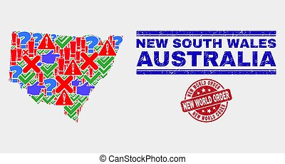 Composition of New South Wales Map Symbol Mosaic and Grunge New World Order Stamp Seal