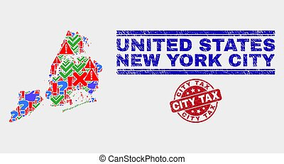 Composition of New York City Map Sign Mosaic and Scratched City Tax Seal