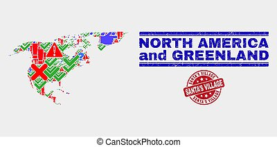 Composition of North America and Greenland Map Sign Mosaic and Grunge Santa'S Village Stamp Seal