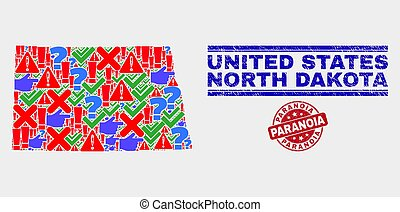 Composition of North Dakota State Map Sign Mosaic and Distress Paranoia Seal