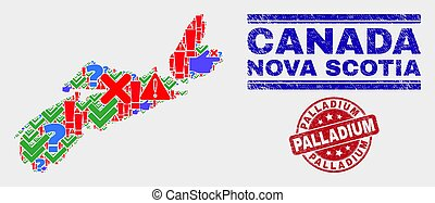 Composition of Nova Scotia Province Map Symbol Mosaic and Scratched Palladium Stamp Seal