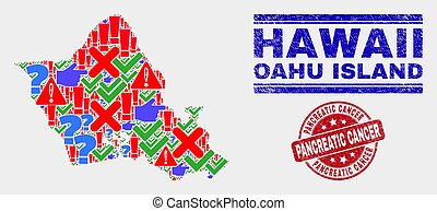 Composition of Oahu Island Map Symbol Mosaic and Distress Pancreatic Cancer Watermark