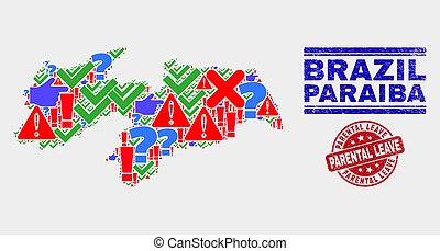 Composition of Paraiba State Map Sign Mosaic and Distress Parental Leave Stamp