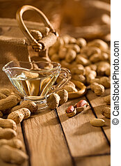 composition of peanuts on wooden boards