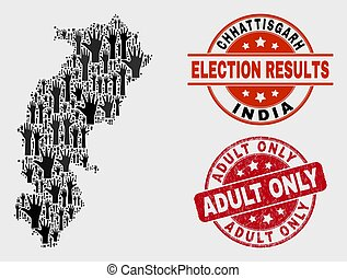 Composition of Poll Chhattisgarh State Map and Distress Adult Only Watermark