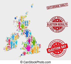 Composition of Poll Great Britain and Ireland Map and Scratched Citizens Only Seal