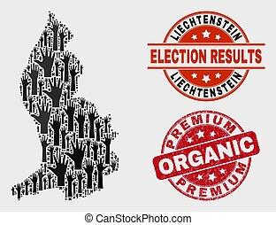 Composition of Poll Liechtenstein Map and Distress Premium Organic Stamp