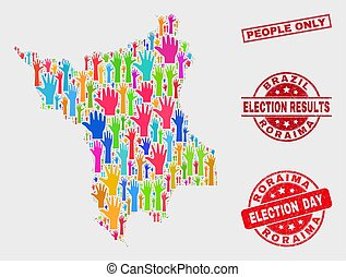 Composition of Poll Roraima State Map and Distress People Only Seal