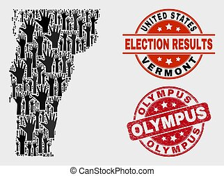 Composition of Poll Vermont State Map and Distress Olympus Stamp Seal