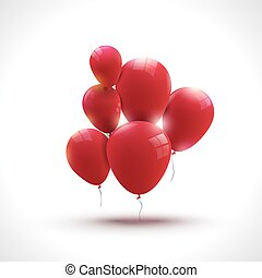 Composition of red ballons, greeting and holiday concept