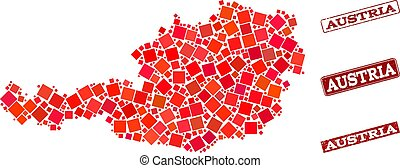 Composition of Red Mosaic Map of Austria and Grunge Rectangle Stamps