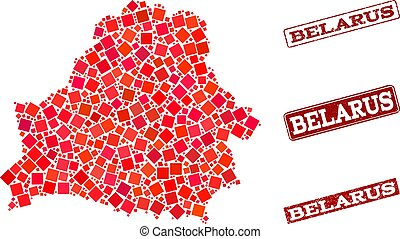 Composition of Red Mosaic Map of Belarus and Grunge Rectangle Stamps