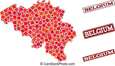Composition of Red Mosaic Map of Belgium and Grunge Rectangle Stamps