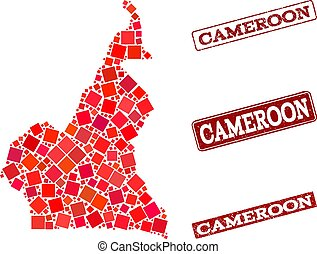 Composition of Red Mosaic Map of Cameroon and Grunge Rectangle Stamps