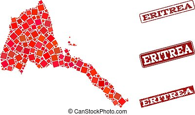 Composition of Red Mosaic Map of Eritrea and Grunge Rectangle Stamps