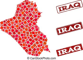 Composition of Red Mosaic Map of Iraq and Grunge Rectangle Stamps