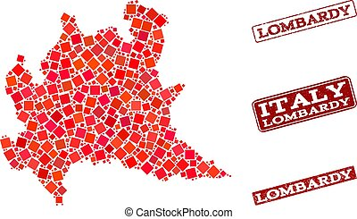 Composition of Red Mosaic Map of Lombardy Region and Grunge...