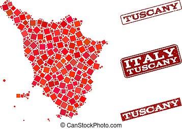 Composition of Red Mosaic Map of Tuscany Region and Grunge...