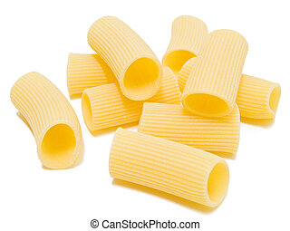 Rigatoni italian Pasta isolated on white. - Composition of ...