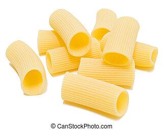 Composition of Rigatoni italian Pasta isolated on white.